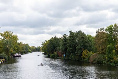 Berlin, Germany- October 5, 2019: view of the river Spree from the railway bridge near the palace garden of Charlottenburg, sports competitions in rowing Editorial