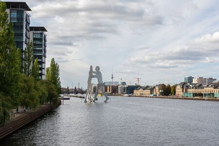 Berlin, Germany- October 6, 2019: view of the Oberbaunum Bridge and TV tower and the Spree river from the Elsen Bridge , Molecule Man Redakční