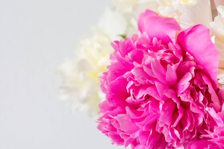 Beautiful bouquet of peonies, pink and white peonies floral background