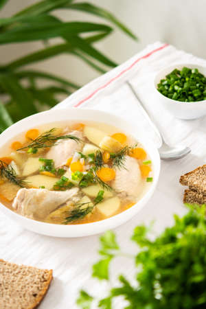 Chicken soup with fresh vegetables, chicken wings broth and young potatoes with onions and carrots, chopped green onions and parsley