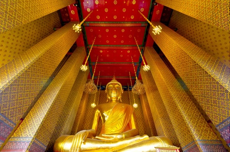Big buddha in Thai temple photo