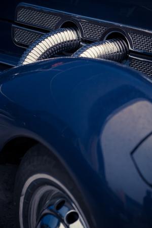 intake: Colour picture of a retro car intake