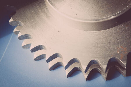 hard component: Colour horizontal detail of stainless sprocket teeth