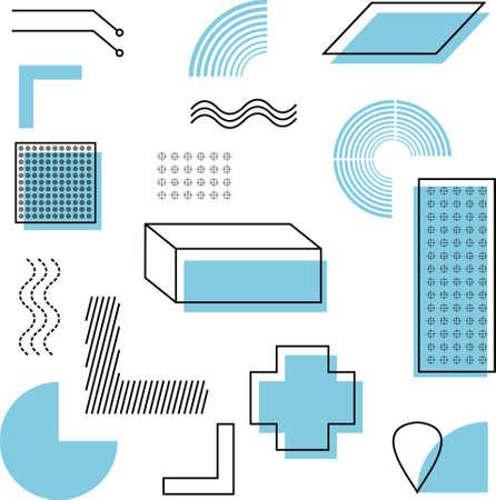 set of geometric shape with blue color Ilustração