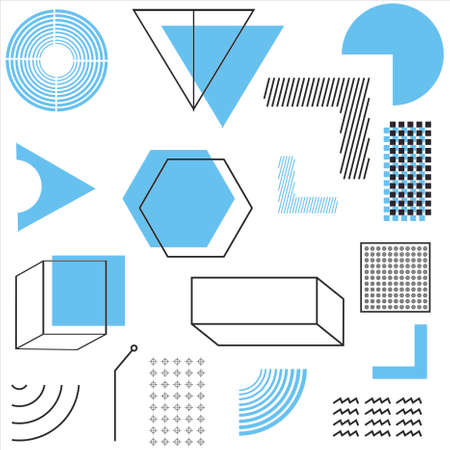 geometric shapes set with sky blue elements composition. its perfect for Magazine, leaflet, billboard, sale