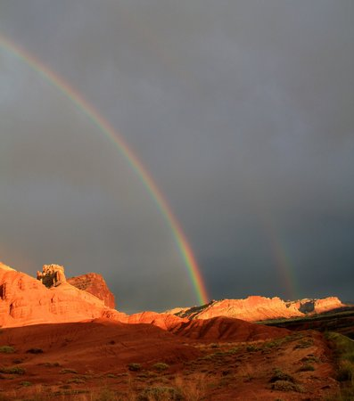 Double rainbow at Capital Reef National Park photo
