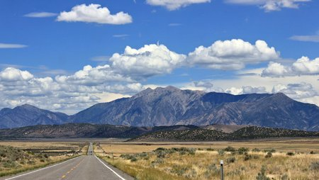Driving towards the Wasatch mountains of Utah