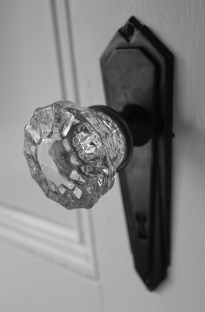 understated: Antique  glass doorknob Stock Photo
