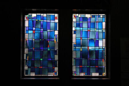 파란색 스테인드 글라스 창문 스톡 콘텐츠 - 26519487