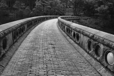 Black and white of a curved walkway Stok Fotoğraf