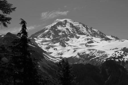 mt rainier: Mt  Rainier in Black and white