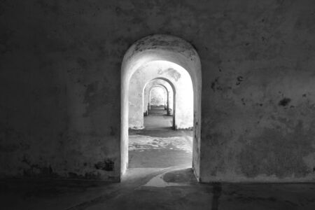 Repetitious doorway in black and white photo