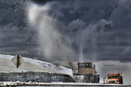 cloud drift: Snow Plow plowing road
