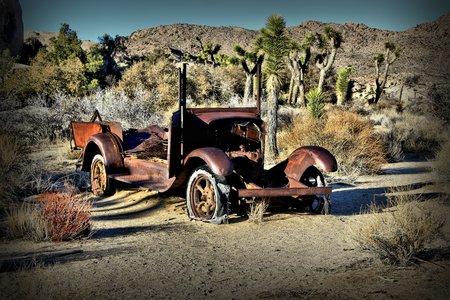 abandoned car: Rusted abandoned car