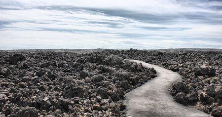 lava field: Path going through a Lava field