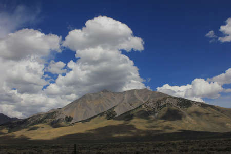 byway: Mountain with blue sky and white clouds