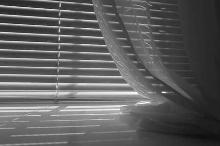 Black and white mini-blinds with window sheers Stock Photo