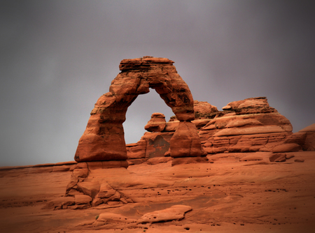 rocky mountain juniper: Delicate Arch at Arches National Park Stock Photo