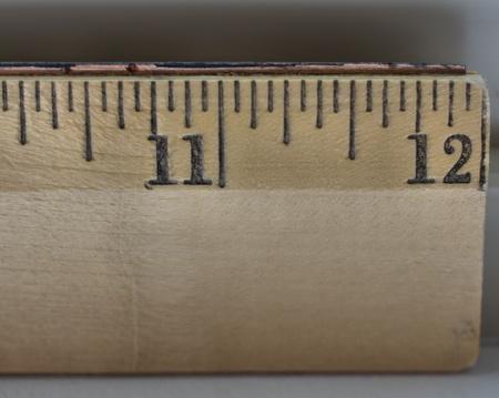 inches: 11 to 12 inches on a wooden ruler Stock Photo