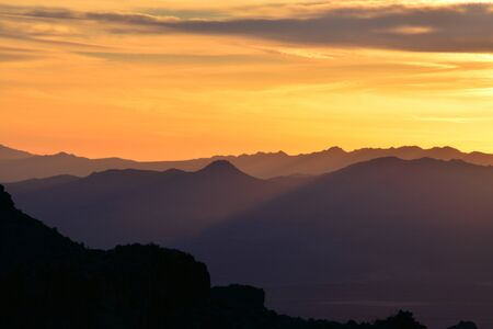 Mountain ranges in sunset