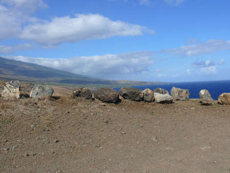 Rock formation at lookout in Hawaii Stock Photo