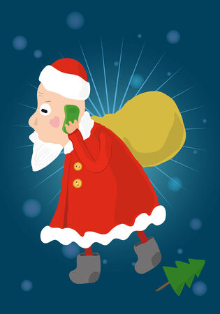 Santa Claus with bag of Christmas gifts speaking on a cell phone funny illustration Vector