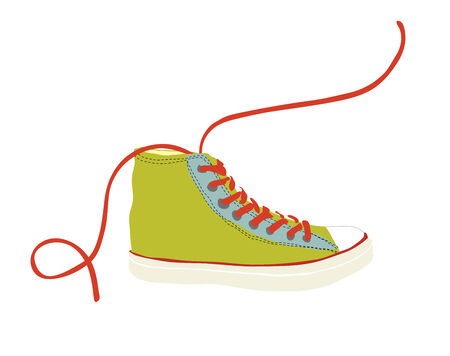 Green sneaker vector illustration isolated on white
