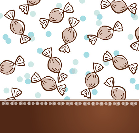 Candy pattern party celebration brown blue template background design postcard Vector