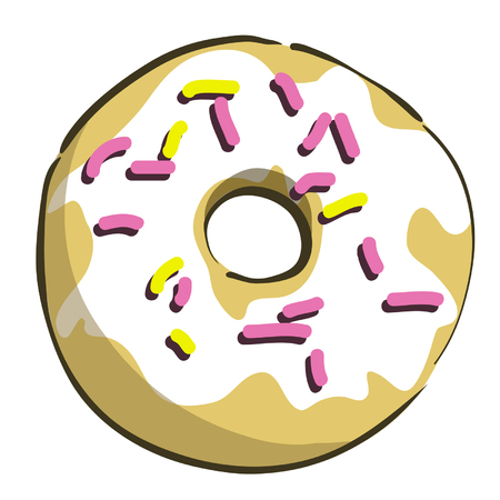 Donut with icing vector editable colourful  funny isolated  illustration Stock Vector - 27699147