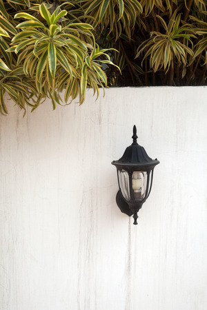 overhang: A black vintage lantern on a white fence wall with tree branches overhanging. Wall lantern. Outdoor lantern