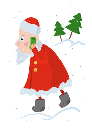 concerned: Santa Claus busy taking a Christmas order on a mobile phone. Santa talking on a smartphone, very concerned. Cute funny cartoon vector illustration. Fir trees on a white background