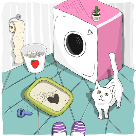 Cute cat made a heart shape spot in a litter box and looks with love at his owner. Pet piss in a litterbox in a glamour girl bathroom. Colorful cartoon vector illustration