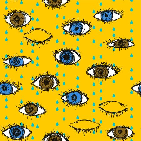 keek: Blue and brown crying eye doodle pattern on a yellow background. Open and closed human eyes under rain seamless vector illustration Illustration