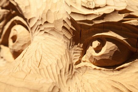 Wild animal eyes carved in wood looking aside close-up. Tiger sculpture face carving