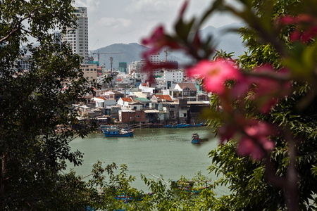 Vietnamese town Nha Trang beautiful cityscape. Looking through blossoming foliage at Asian city on a river Banco de Imagens