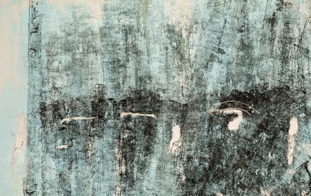 Cyan and black weathered painted wall background. Abstract textured blue backdrop with stains and cracks