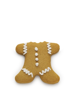 A gingerbread man cookie with his head bitten off