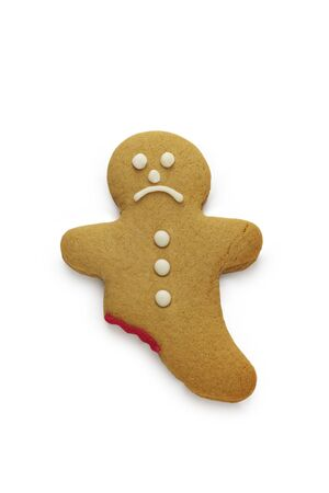 A very sad looking gingerbread man Stock Photo
