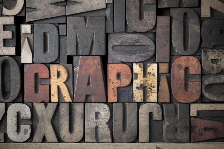 letterpress letters: The word Graphic written out in very old and worn letterpress type Stock Photo