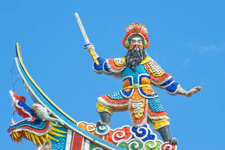 statuary: Statuary on temple of roof
