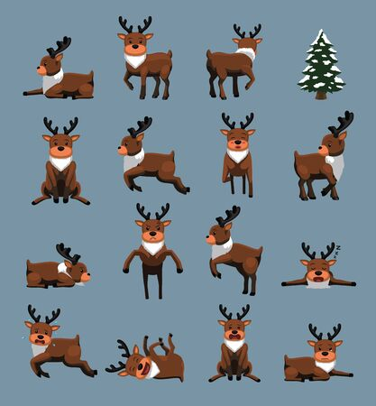 Christmas Character Reindeer Various Poses Cartoon