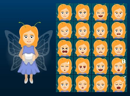 Tooth Fairy Cartoon Emotion faces Vector Illustration