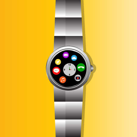 flat screen: The stainless smartwatch with the screen including flat design app. Illustration