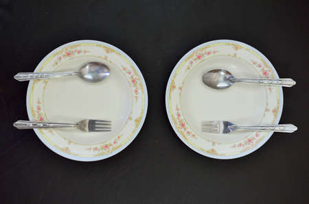 flatware: Dish, spoon and fork