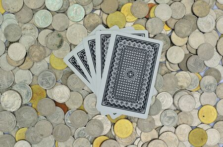 poker card and coins Stock Photo - 12512972