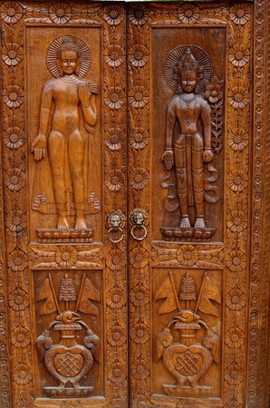 Buddha, native Thai style wood carving photo