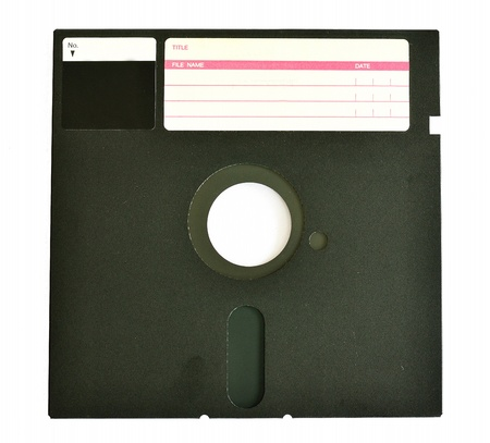 diskette: Old diskette 5 25 inches with label isolated on white background Stock Photo
