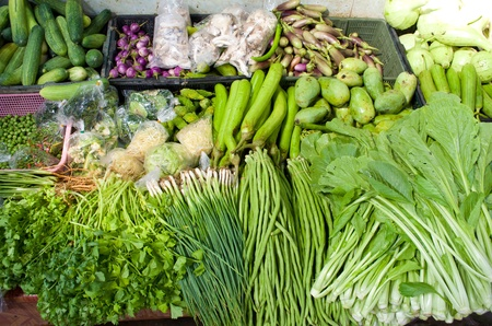 common bean: Fresh organic Fruits and vegetables in a farmers market  Stock Photo
