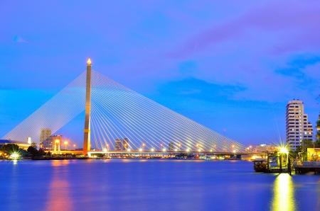 halogen lighting: suspension bridge, rope bridge Stock Photo