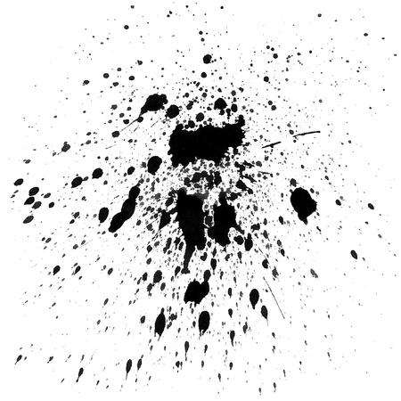 black watercolor splashes on white background